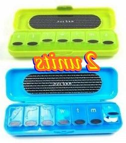 2 Pack- Med Sun 7 Day Pill Organizers for Travel with Protec