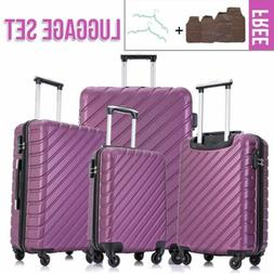 4 Pieces Luggage Set Hardside Spinner Suitcase ABS Light Tra