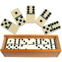 Dominoes Set- 28 Piece Double-Six Ivory Domino Tiles Set, Cl