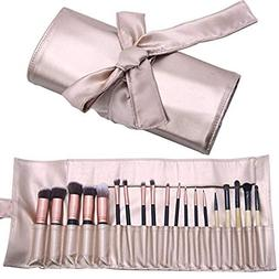 Makeup Brush Organizer Rolling Bag Cosmetic Case PU Leather