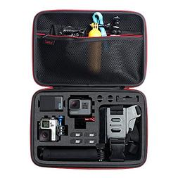 Large Carrying Case for GoPro Hero,HERO6,5,4,+LCD, Black, Si