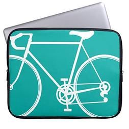 Funny Laptop Sleeve Cover 13 13.3-13.8 Inch Blue Green Bike