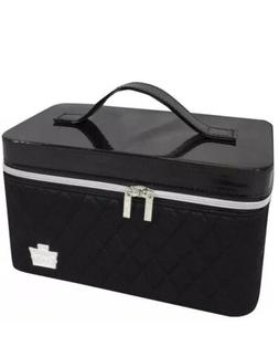 Caboodles iCandy Makeup Cosmetic Train Case Black Quilted Va