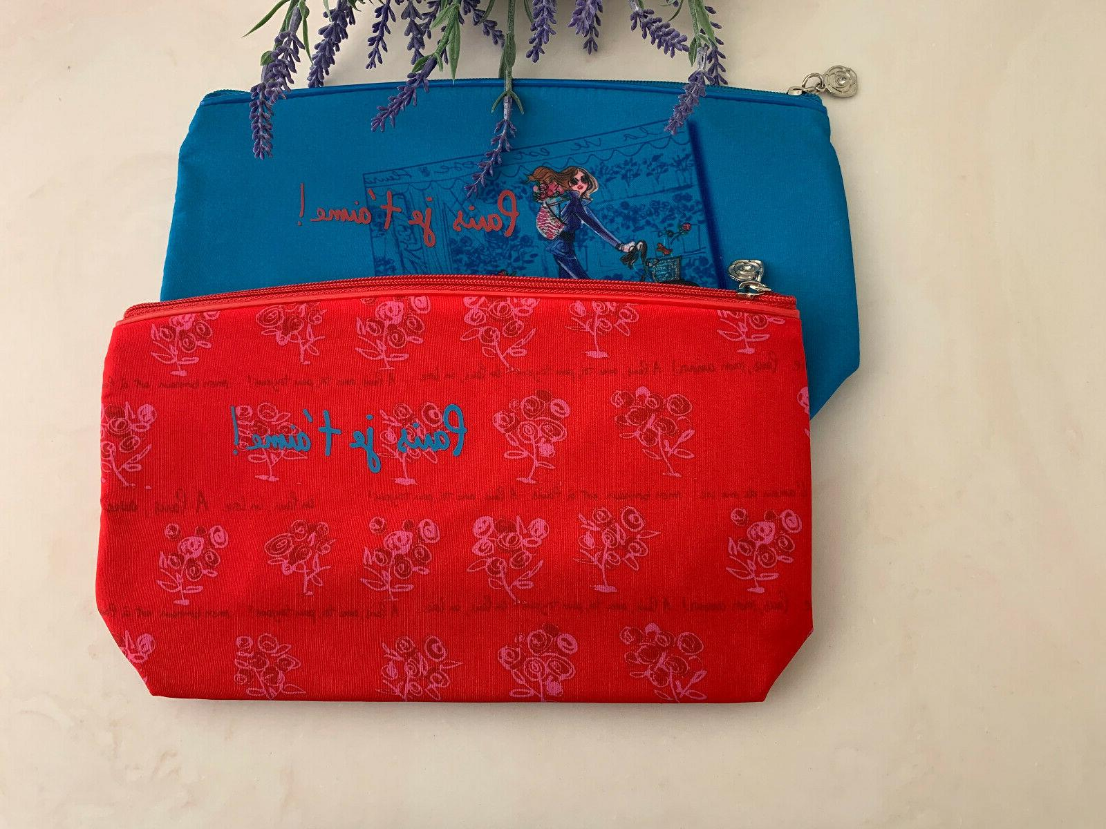 "2 Cosmetic Bag Red Blue Approx 6"" 2"""