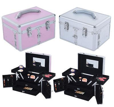3 Tier Makeup Train Case Travel Cosmetic Organizer Jewelry S