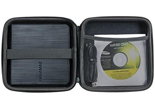 Caseling Portable Hard Carrying Travel Storage Case for External Blu-ray Rewriter and Optical - Black