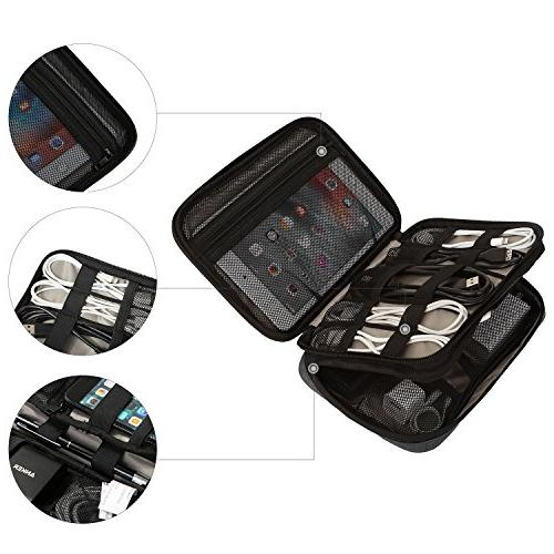 BAGSMART Double-Layer Organizer for Cables, Charge, Camera Charger, Charger, Black
