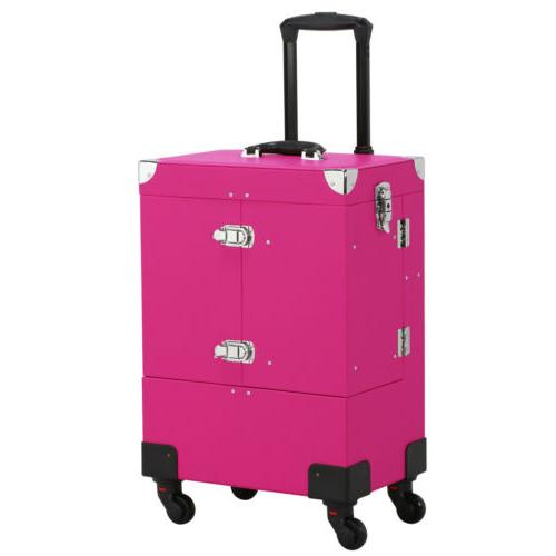makeup travel cosmetic case professional rolling train