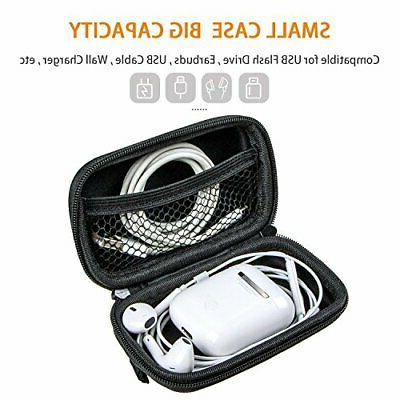 Portable Hard Case Shockproof Travel Earbuds Pouch Bag Black