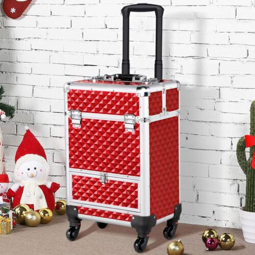 rolling makeup train case professional cosmetic travel