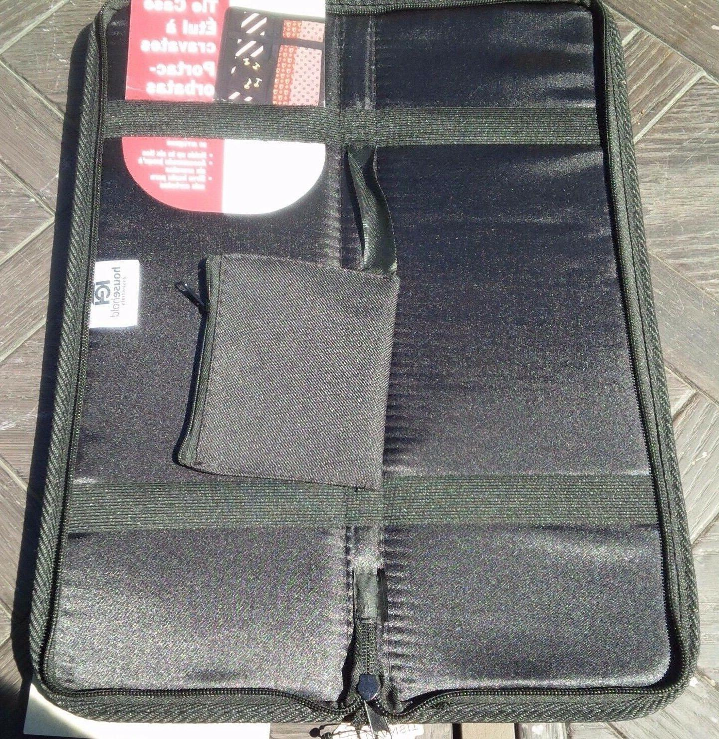 HOUSEHOLD ESSENTIALS Travel Tie Case with Cuff Link Pouch Bl