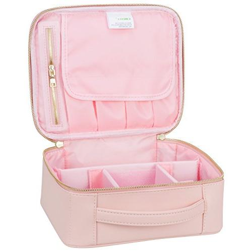 Ollieroo Train Case Professional Cosmetic Organizer Adjustable Dividers Pink