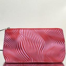 New Clinique Cosmetic Bag Travel Case Pouch  Zip Top Pink Wa