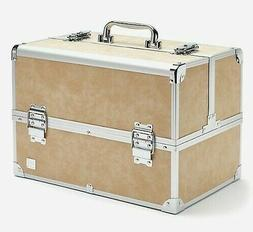 NIB Caboodles LARGE TRAIN CASE NEUTRAL TAUPE~KHAKI Cosmetic