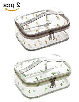 WODISON 2 Packs Travel Clear Makeup Bag Set Tote Cosmetic Tr