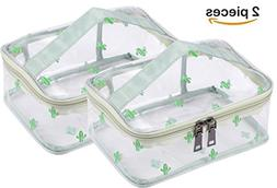 WODISON 2 Piece Printed Clear Cosmetic Bag Travel Makeup Tra