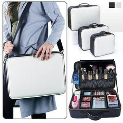 Professional Makeup Bag Cosmetic Case Leather Travel Large S