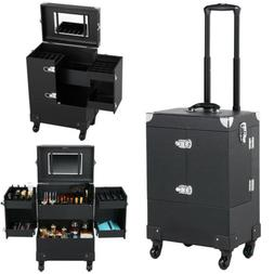 Professional Makeup Train Case Rolling Cosmetic Travel Troll