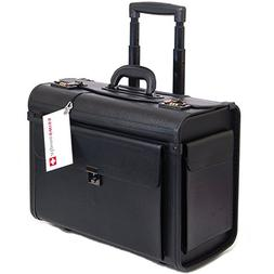 "Alpine Swiss Rolling 17"" Laptop Briefcase on Wheels Attache"
