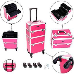 Mefeir 2-in-1 Rolling Makeup Train Case,4 Removable Travel W