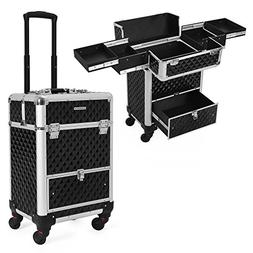 SONGMICS 4 Universal Wheels Rolling Cosmetic Case, Makeup Tr