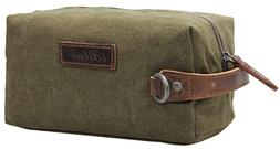 Iblue Thick Leather Handle Canvas Toiletry Bag Dopp Kit Come