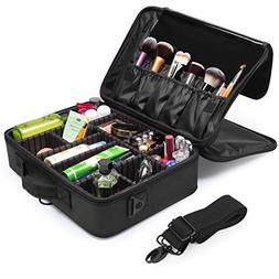 Makeup Train Case, Fortech 3 Layers Portable Travel Makeup C