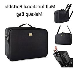 "DQS Makeup Train Case, 3 Layer 15.2"" Length Portable Travel"