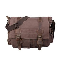 HDE Vintage Canvas Messenger Bag Leather Military Tactical S